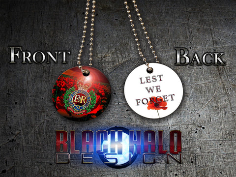 THE ROYAL ENGINEERS POPPY: LEST WE FORGET★ UK STYLE ID DISC/DOG TAG NECKLACE/KEYRING - Black Halo Design