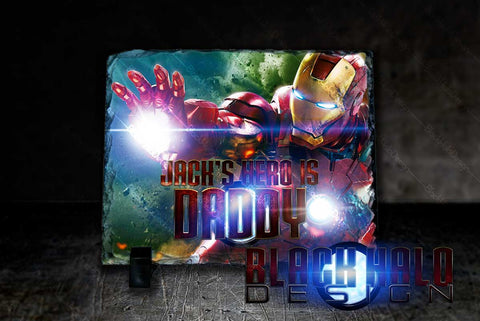 Iron Man Personalised Fathers Day Natural Rock Slate with Stands