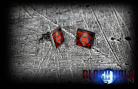 THE GRENADIER GUARDS: POPPY FIELD (ARMY) METAL SQUARE CUFFLINKS(RE/SAPPERS/SOMME)