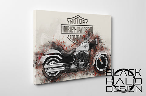 Harley Davidson Artwork on Timber Framed Canvas (Choice of Sizes)