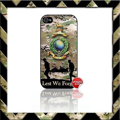 ★ ROYAL MARINES GLOBE & LAURELS SHELL/CASE/COVER FOR APPLE IPHONE 4/4S MARINE#2 - Black Halo Design