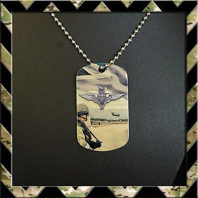 ★ THE PARACHUTE REGIMENT (PARA) DOG TAG NECKLACE/KEYRING (ARMY/HELP FOR HEROES) - Black Halo Design