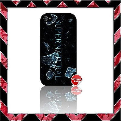 ★ SUPERNATURAL ★ COVER FOR IPHONE 4/4S SHELL CASE SAM & DEAN WINCHESTER #5 - Black Halo Design