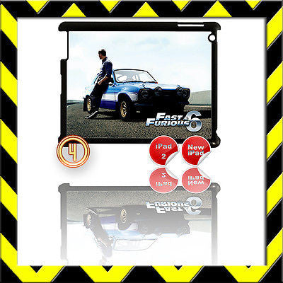 ★ FAST & FURIOUS 6 ★ SHELL/COVER FOR IPAD 2/3/4(3RD/4TH GEN AND) PAUL WALKER #4 - Black Halo Design
