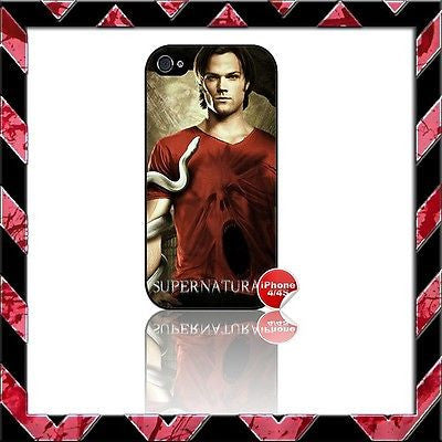 ★ SUPERNATURAL ★ COVER FOR IPHONE 4/4S SHELL CASE SAM JARED PADALECKI#2 - Black Halo Design