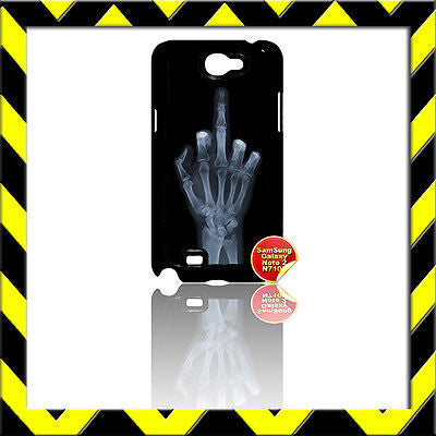 ★ MIDDLE FINGER X-RAY (XRAY) ★ COVER FOR SAMSUNG GALAXY NOTE II/2/N7100 CASE  - Black Halo Design