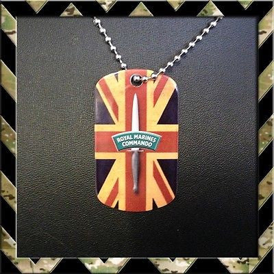 ★ UNION JACK ROYAL MARINES COMMANDO ★ DOG TAG NECKLACE/KEYRING (H4H/ARMY/NAVY) - Black Halo Design