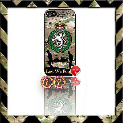 ★ WOMENS ROYAL ARMY CORPS (WRAC)★ SHELL/CASE/COVER FOR IPHONE 5/5S CAMO#22 - Black Halo Design