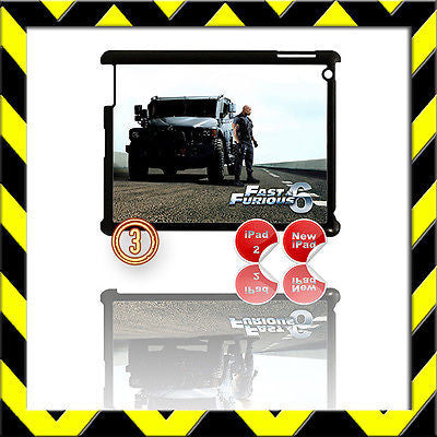 ★ FAST & FURIOUS 6 ★ SHELL/COVER FOR IPAD 2/3/4(3RD/4TH GEN AND) THE ROCK #3 - Black Halo Design