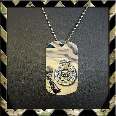 ★ THE ROYAL ENGINEERS (SAPPERS) DOG TAG NECKLACE/KEYRING - Black Halo Design