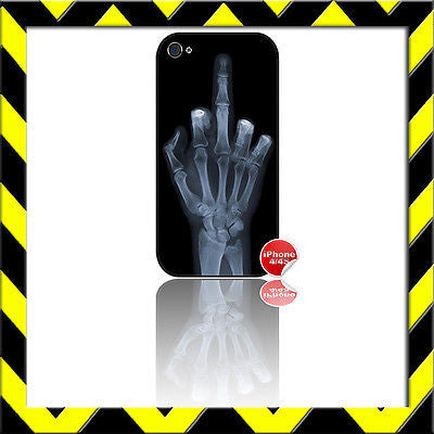 ★ THE MIDDLE FINGER X-RAY(XRAY)★ PROTECTIVE SHELL / COVER FOR IPHONE 4/4S - Black Halo Design