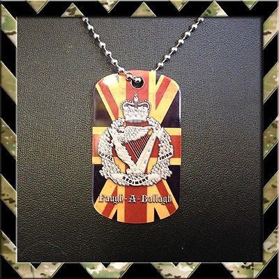 ★UNION JACK ROYAL IRISH REGIMENT(RIR)★ DOG TAG NECKLACE/KEYRING FAUGH-A-BALLAGH - Black Halo Design