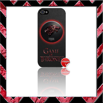 ★ GAME OF THRONES HOUSE STARK ★ PHONE COVER FOR IPHONE 5 (CASE) BLOOD SPATTER - Black Halo Design