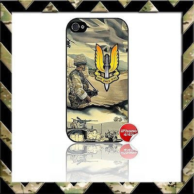 ★ THE SPECIAL AIR SERVICE (SAS) ★ COVER FOR APPLE IPHONE 4/4S WHO DARES WINS - Black Halo Design