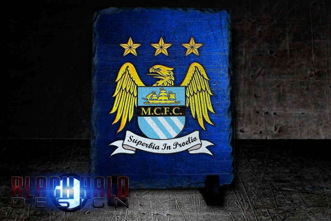 Manchester City Rectangular Natural Rock Slate (Can Be Personalised) Man City