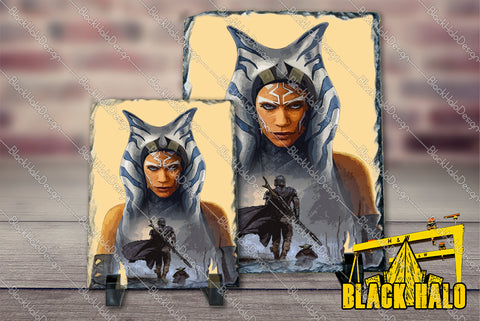 Star Wars Inspired Ahsoka Tano:(Mandalorian) artwork on Natural Rock Slate with Stands