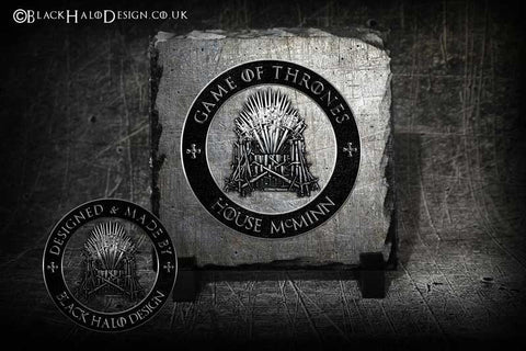 Personalised Game of Thrones Rock Slates - Black Halo Design