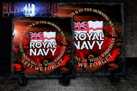 (NEW) The Royal Navy: Poppy Natural Rock Slate with Stands #Army #Afghanistan - Black Halo Design
