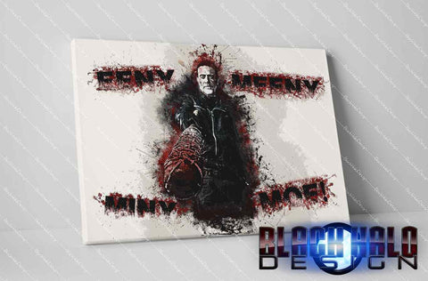NEGAN: The Walking Dead: Eeny Meeny Miny Moe Timber Framed Canvas in choice of sizes