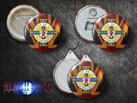Northern Ireland: Norn Iron: Ulster: Large 58mm Metal Pin Badge, Magnet, Keyring - Black Halo Design