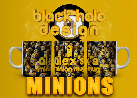 Minions: (Name's) Minion Mug Personalised 10oz Ceramic Mug - Black Halo Design