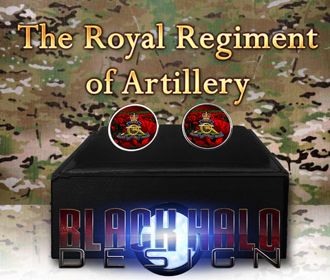 THE ROYAL REGIMENT OF ARTILLERY METAL CUFFLINKS #POPPY - Black Halo Design