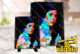 Star Wars Princess Leia Inspired  artwork on Natural Rock Slate with Stands
