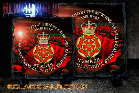 Personalised: Queens Lancashire Regiment Natural Rock Slate with Stands