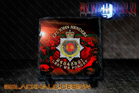 The Royal Corps of Transport Personalised Natural Rock Slate (RCT) - Black Halo Design