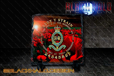 Personalised: The Royal Horse Artillery: Lest We Forget Natural Rock Slate with Stands - Black Halo Design
