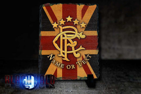 Glasgow Rangers FC Personalised Natural Rock Slate (Gers) - Black Halo Design  - 1