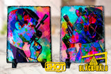 Star Wars Inspired Greedo & Han Who Shot First artwork on Natural Rock Slate with Stands