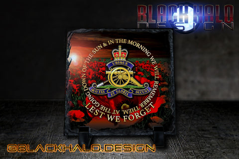 The Regiment Of The Royal Artillery: Lest We Forget Natural Rock Slate (150mm x 150mm) - Black Halo Design