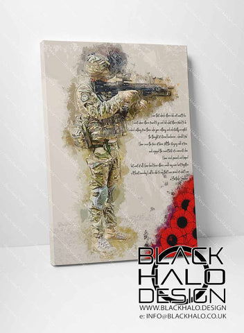 A Soldiers Poem Timber Framed Canvas in choice of sizes