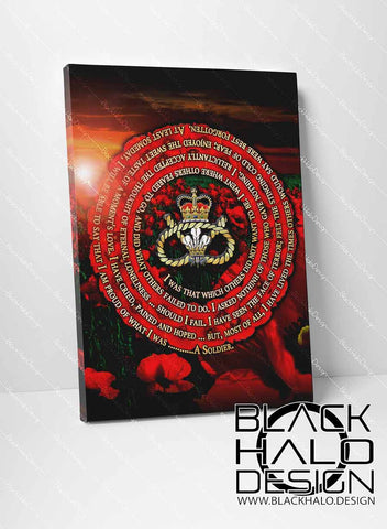 The Staffordshire Regiment: A Soldiers Poem Remembrance Box Framed Canvas (Choice of Sizes)