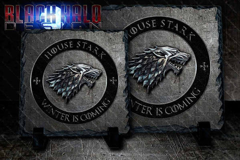 Game of Thrones: House Stark: Wolf Natural Rock Slate with Stands #WinterIsComing - Black Halo Design  - 1