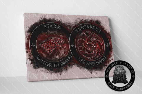 Game of Thrones Stark & Targaryen Timber Framed Canvas in choice of sizes