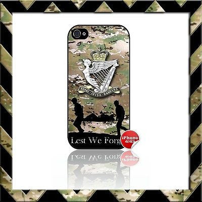 ★ THE ROYAL IRISH RANGERS RIR SHELL/CASE/COVER FOR APPLE IPHONE 4/4S CAMO#5 - Black Halo Design