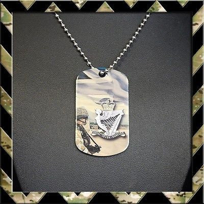 ★ THE ROYAL IRISH RANGERS(RIR) DOG TAG NECKLACE/KEYRING (ARMY/HELP FOR HEROES) - Black Halo Design