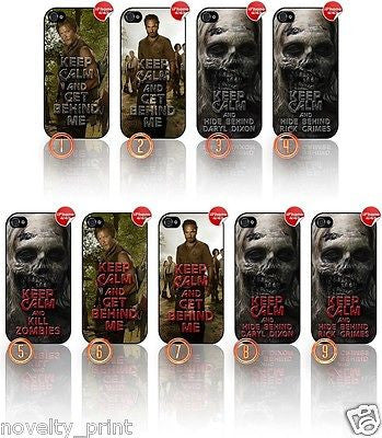 ★ KEEP CALM THE WALKING DEAD ★ APPLE IPHONE 4/4S MOBILE PHONE HARD CASE COVER - Black Halo Design  - 1