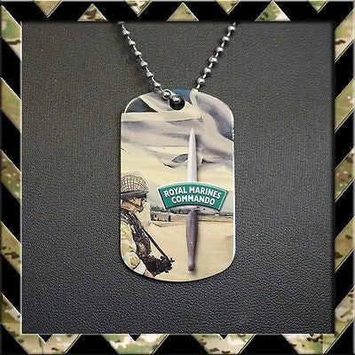 ★ ROYAL MARINES COMMANDO AFGHANISTAN DOG TAG NECKLACE/KEYRING (ARMY/NAVY H4H) - Black Halo Design