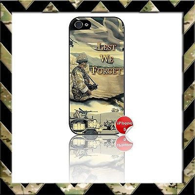★ LEST WE FORGET ★ PHONE COVER FOR IPHONE 5 CASE ARMY/NAVY/RAF HELP FOR HEROES#2 - Black Halo Design
