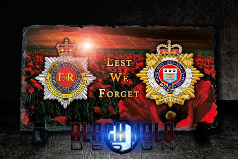 The Royal Corps Of Transport & Royal Logistics: Lest We Forget Natural Rock Slate (120mm x 220mm) #POPPY - Black Halo Design