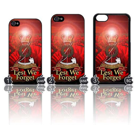 Tower Badge: Royal Pioneer Corps: Poppy Sunset Design Case for Choice of iPhone Models - Black Halo Design