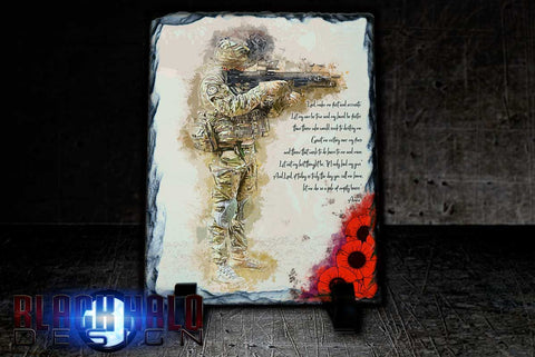 (NEW) A Soldiers Prayer: Poppy Natural Rock Slate with Stands