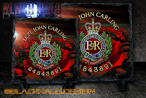 The Royal Engineers Personalised Natural Rock Slate (Sappers)