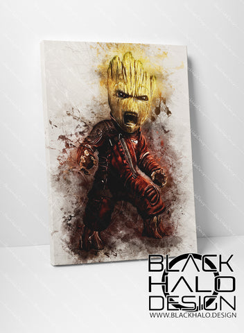 Baby Groot Timber Framed Canvas in choice of sizes