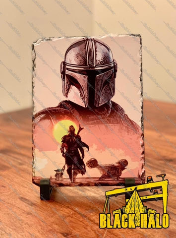 Star Wars the Mandalorian inspired artwork on Natural Rock Slate in choice of sizes