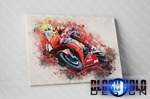 Joey Dunlop Timber Framed Canvas in choice of sizes