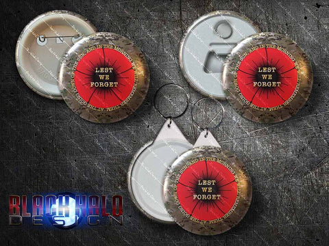 Lest We Forget: Poppy Large 58mm Metal Pin Badge, Bottle Opener Magnet or Keyring (Somme)